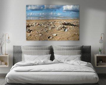 Strand met schelpen Texel van Ad Jekel