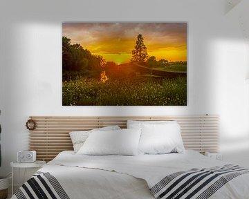 Zonsondergang boven de Oude IJssel van Norbert Erinkveld