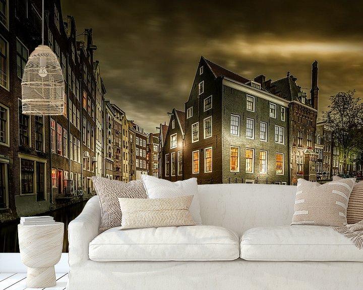 Sfeerimpressie behang: Amsterdam wanneer de avond begint van Sandra Kuijpers