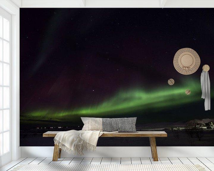 Beispiel fototapete: Nordlichter in Island über den Berg . von Arjan Groot