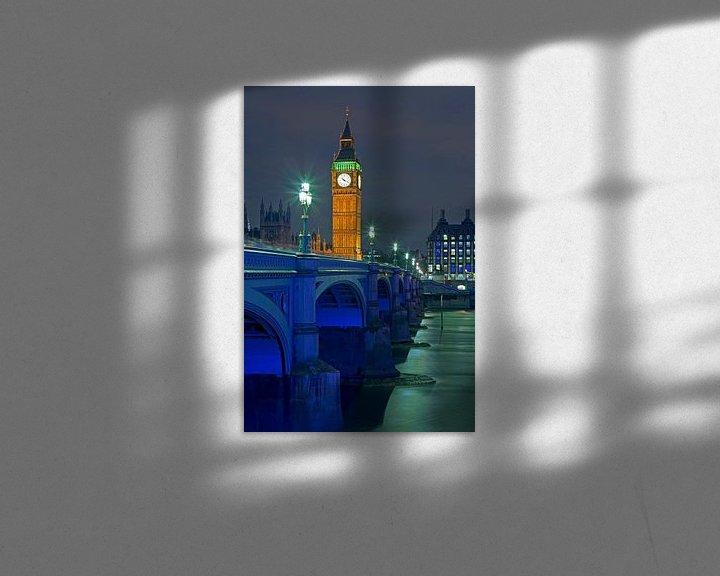 Sfeerimpressie: Big Ben en Westminster Bridge te Londen van Anton de Zeeuw