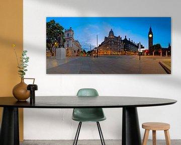 Statue Panorama Winston Churchill et Big Ben à Londres sur Anton de Zeeuw
