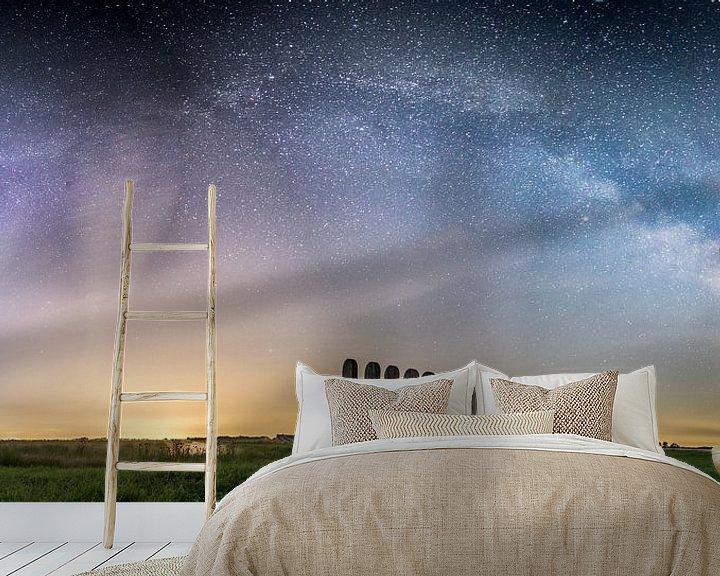 Sfeerimpressie behang: Het sterrenstelsel gezien van het Leekstermeer van Hessel de Jong