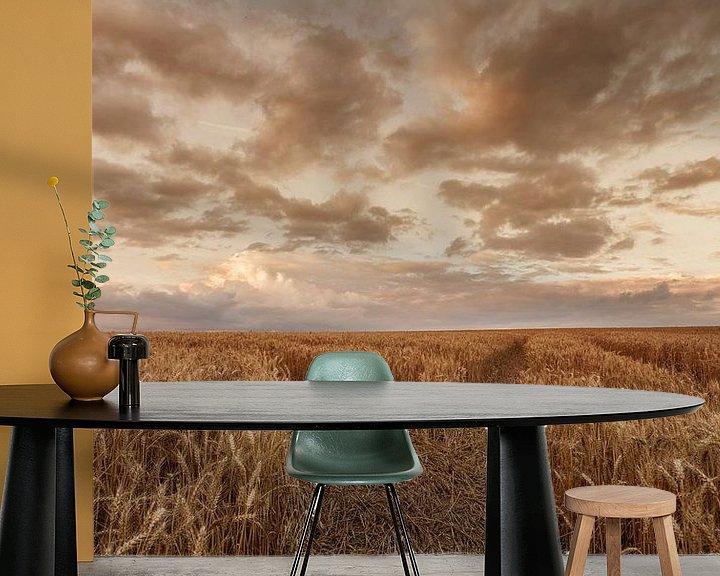 Sfeerimpressie behang: Zomeravond boven een korenveld in de buurt van Eys van John Kreukniet