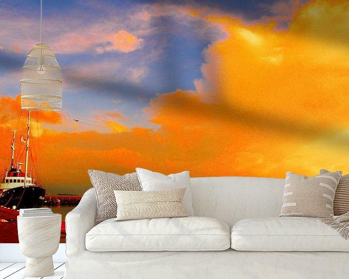 Sfeerimpressie behang: Oranje lucht van Jetty Boterhoek