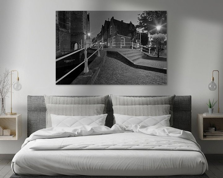 Sfeerimpressie: Nachtfoto brug Kerkstraat Delft van Anton de Zeeuw