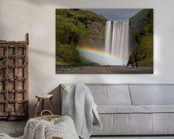 Skógafoss rainbow van Eddo Kloosterman