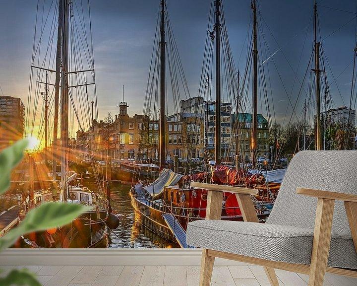 Sfeerimpressie behang: Zonsondergang Veerhaven, Rotterdam van Frans Blok