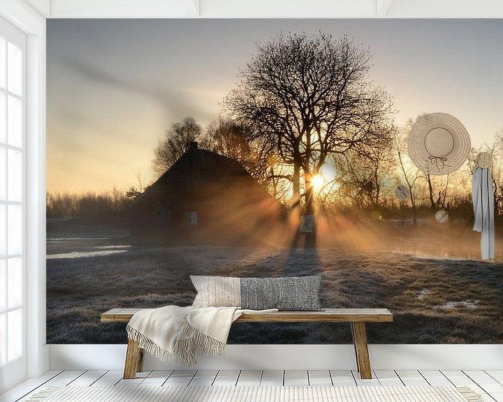 Beispiel fototapete: Sunrays on a misty morning von Rene Mensen