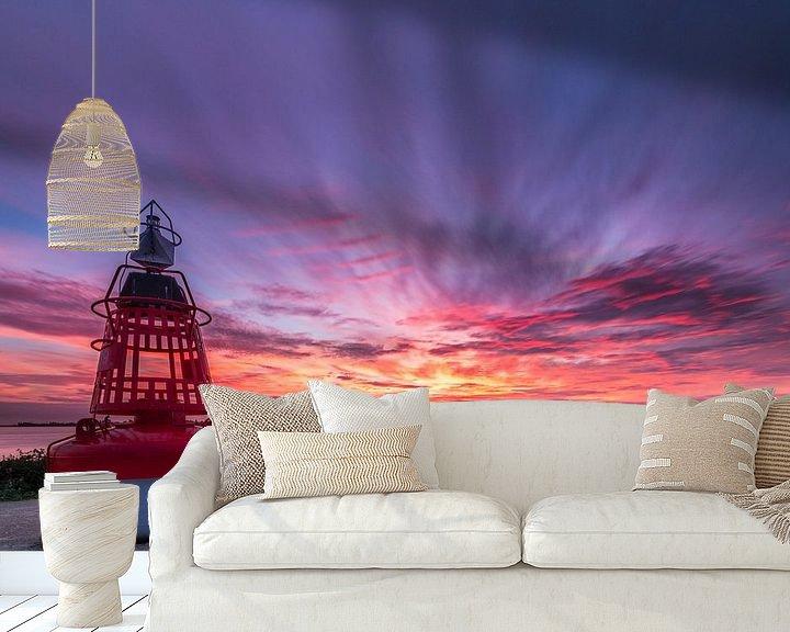 Sfeerimpressie behang: Zonsondergang bij Westeinderplassen in Aalsmeer van Ardi Mulder