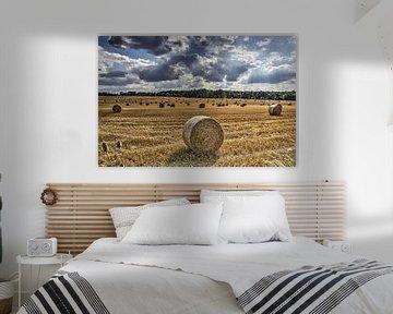 Strorollen op een veld in Frankrijk