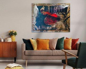 Red lips and fishes van Gabi Hampe