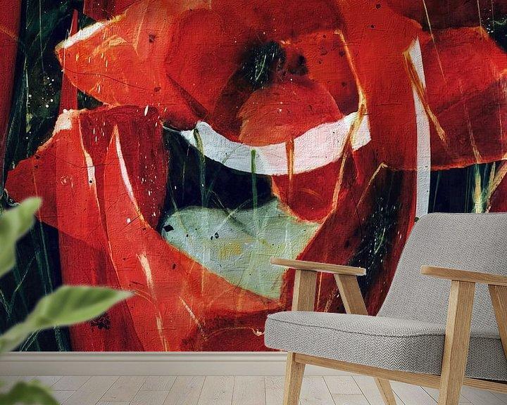 Beispiel fototapete: Roter Mohn - abstrakt von Christine Nöhmeier