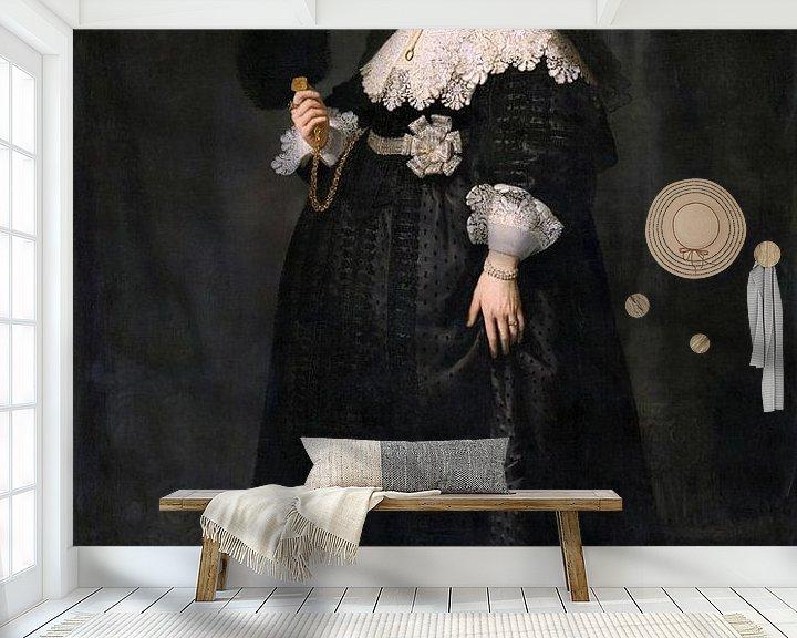 Sfeerimpressie behang: Oopjen Coppit van Rembrandt van Rijn