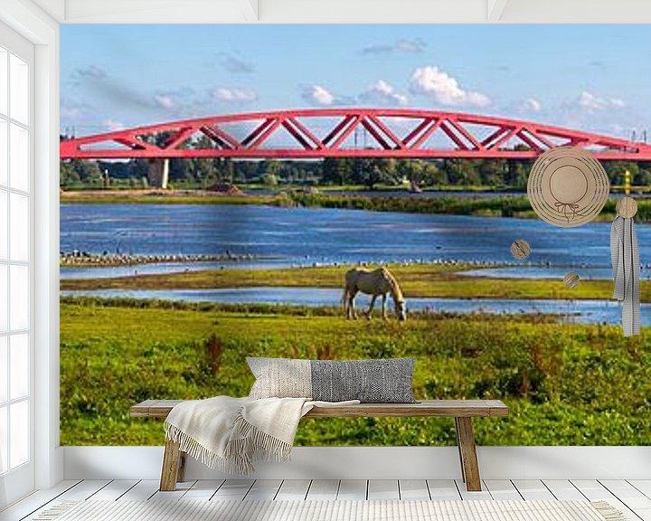 Sfeerimpressie behang: Panorama Hanzeboog spoorbrug Zwolle van Anton de Zeeuw