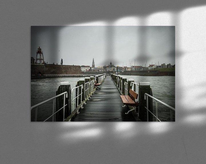 Sfeerimpressie: Stadsgezicht op Vlissingen, Zeeland vanaf pier van Erik Wouters