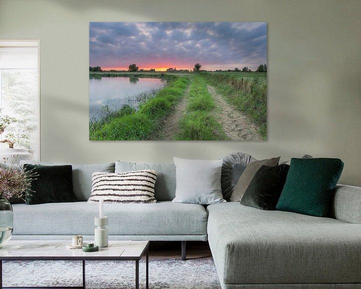 Sfeerimpressie: Zonsondergang nabij de Jantjesplaat (Brabantse Biesbosch) van Adrian Visser