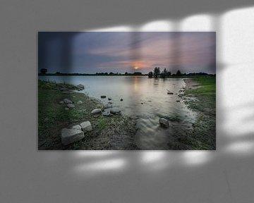 Sonnenuntergang IJssel Windesheim Provinz Overijssel