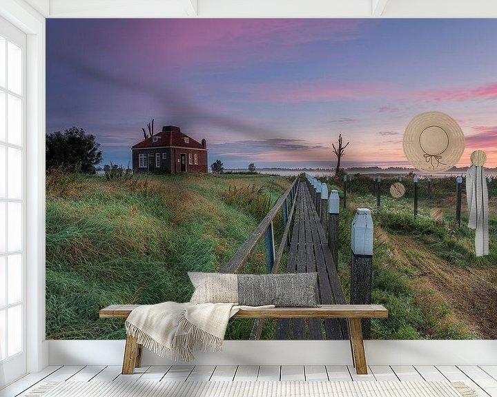 Sfeerimpressie behang: Zonsopkomst Schokland provincie Flevoland,Nederland. van Adrian Visser