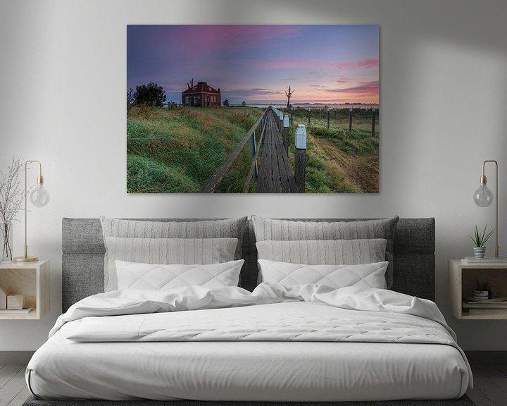 Sfeerimpressie: Zonsopkomst Schokland provincie Flevoland,Nederland. van Adrian Visser