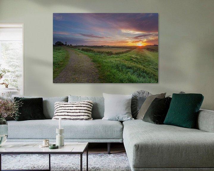 Sfeerimpressie: Zonsopkomst Schokland provincie Flevoland van Adrian Visser
