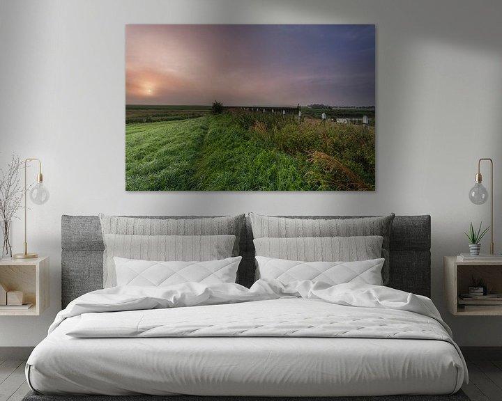 Sfeerimpressie: Mistig Schokland provincie Flevoland van Adrian Visser