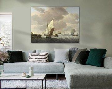 Schiffe mit starker Brise vor der Küste - Willem van de Velde