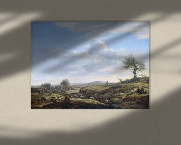 Hügelige Landschaft mit hoher Straße - Adriaen van de Velde