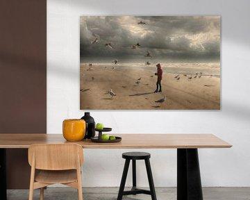 Strand  zee en meeuwen van marleen brauers