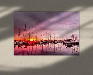 De jachthaven van Juelsminde in het ochtendlicht van Tony Buijse