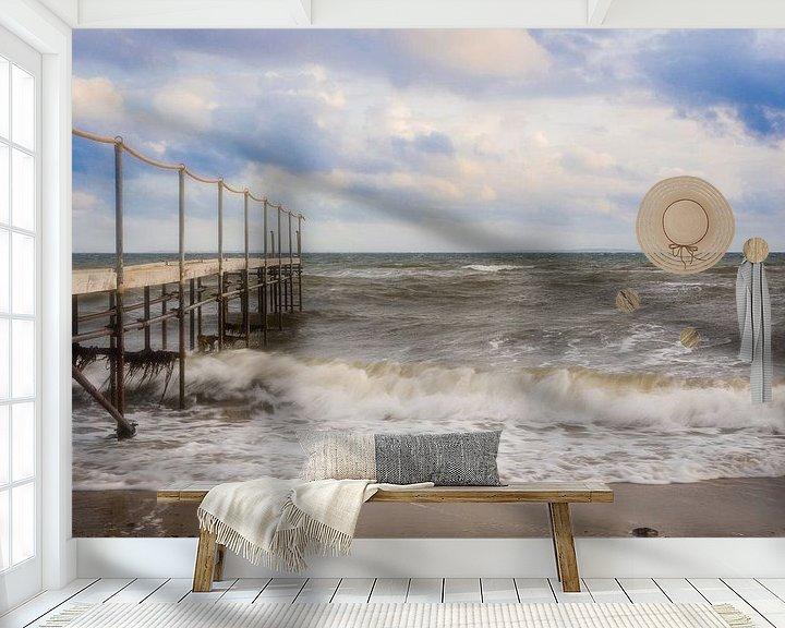 Sfeerimpressie behang: Steiger in de branding van Tony Buijse