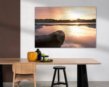 zonsondergang in het vogelmeer  van Frank Kremer