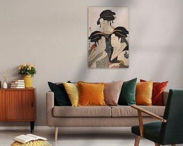 Kitagawa, Utamaro,drie schoonheden, Kosha, Japanse prent
