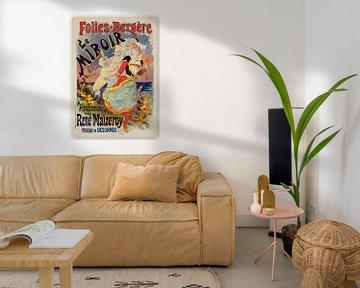 Poster voor de Folies Bergère,een cabaret muziekhal in Parijs, Frankrijk. van Jules Cheret, 1836 193