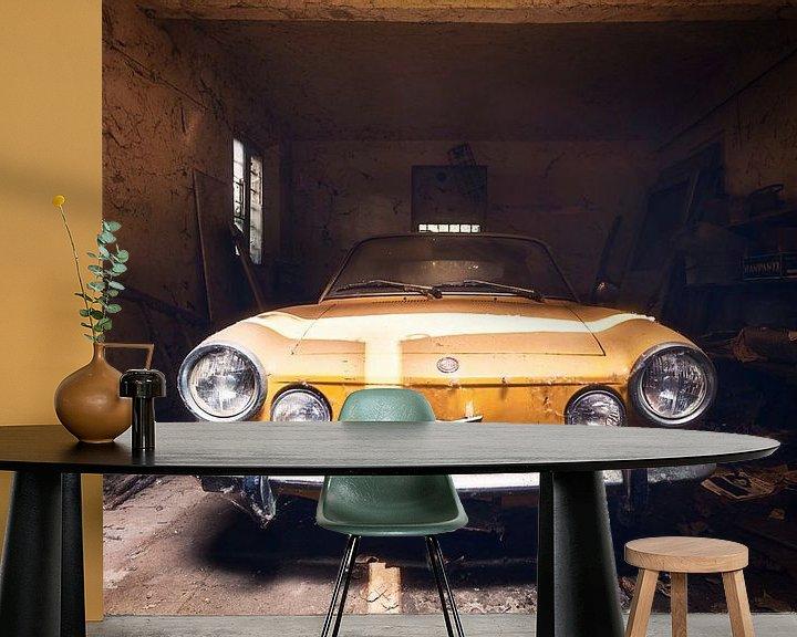 Beispiel fototapete: Gelber Fiat in verlassener Garage. von Roman Robroek