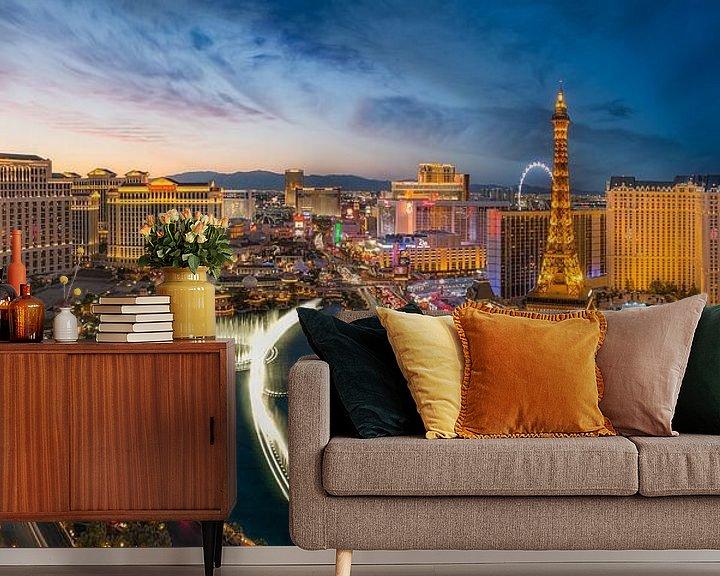 Sfeerimpressie behang: Las Vegas Skyline Panorama van Edwin Mooijaart