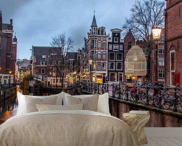 Sfeerimpressie behang: HDR foto van de Grimburgwal in Amsterdam van Wijbe Visser