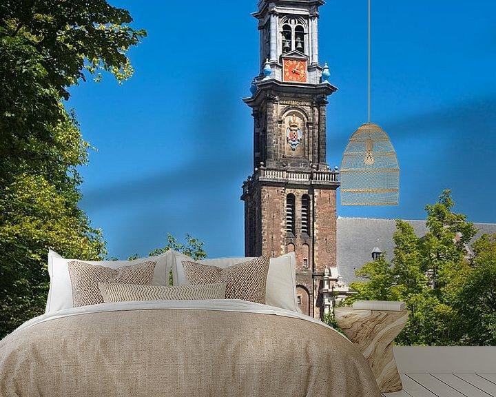 Sfeerimpressie behang: Westerkerk Amsterdam van Anton de Zeeuw