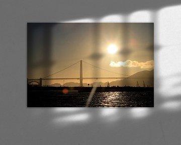 Golden Gate Bridge bij zonsondergang von Anke Akkermans