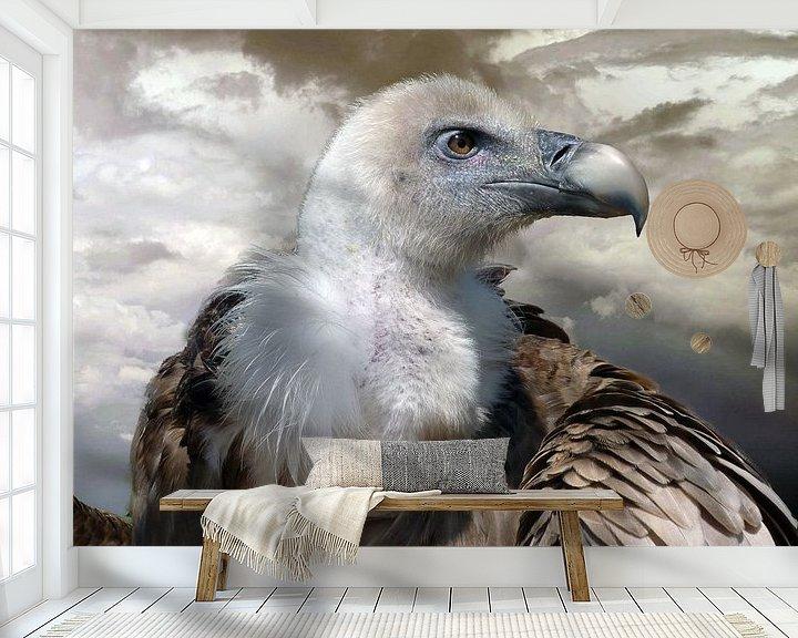 Sfeerimpressie behang: Roofvogel Vale Gier van Gonnie van Hove