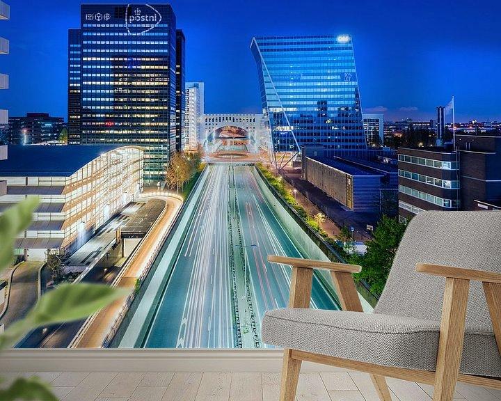 Beispiel fototapete: Utrechtsebaan, Den Haag (Blaue Stunde) von John Verbruggen