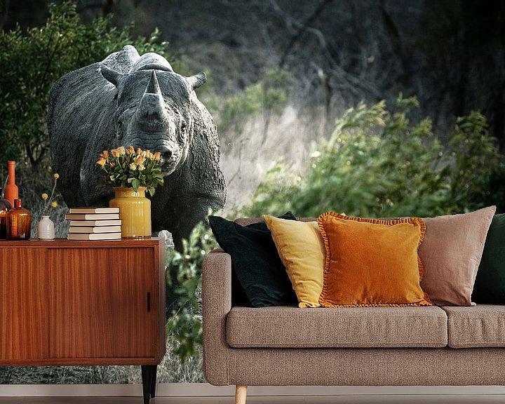 Sfeerimpressie behang: Black Rhino van Jasper van der Meij