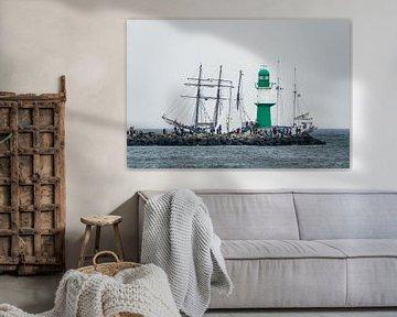 Windjammer on the Baltic Sea during the Hanse Sail van Rico Ködder