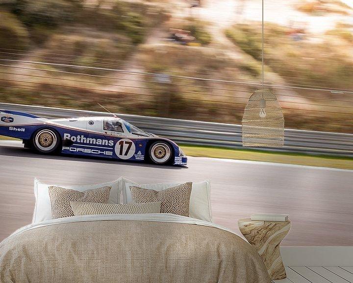 Sfeerimpressie behang: Le Mans Porsche 956 Rothmans van Arjen Schippers