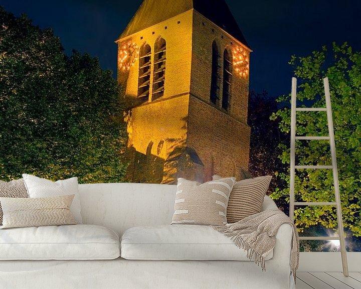 Sfeerimpressie behang: Dorpskerk Spijkenisse van Anton de Zeeuw