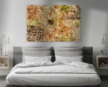Muse, Collage auf Holz von Rietje Bulthuis