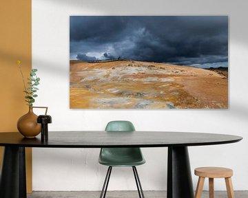 Geothermisch landschap Krafla op IJsland van Daan Kloeg