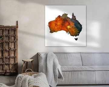 Australië | Landkaart in aquarel | Ook als wandcirkel
