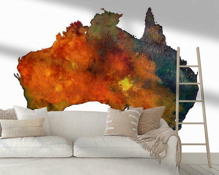 Sfeerimpressie behang: Australië | Landkaart in aquarel | Ook als wandcirkel van Wereldkaarten.Shop