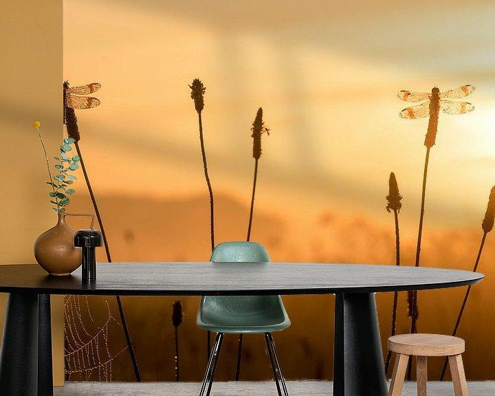 Sfeerimpressie behang: Bandheidelibellen bij zonsopkomst van Erik Veldkamp